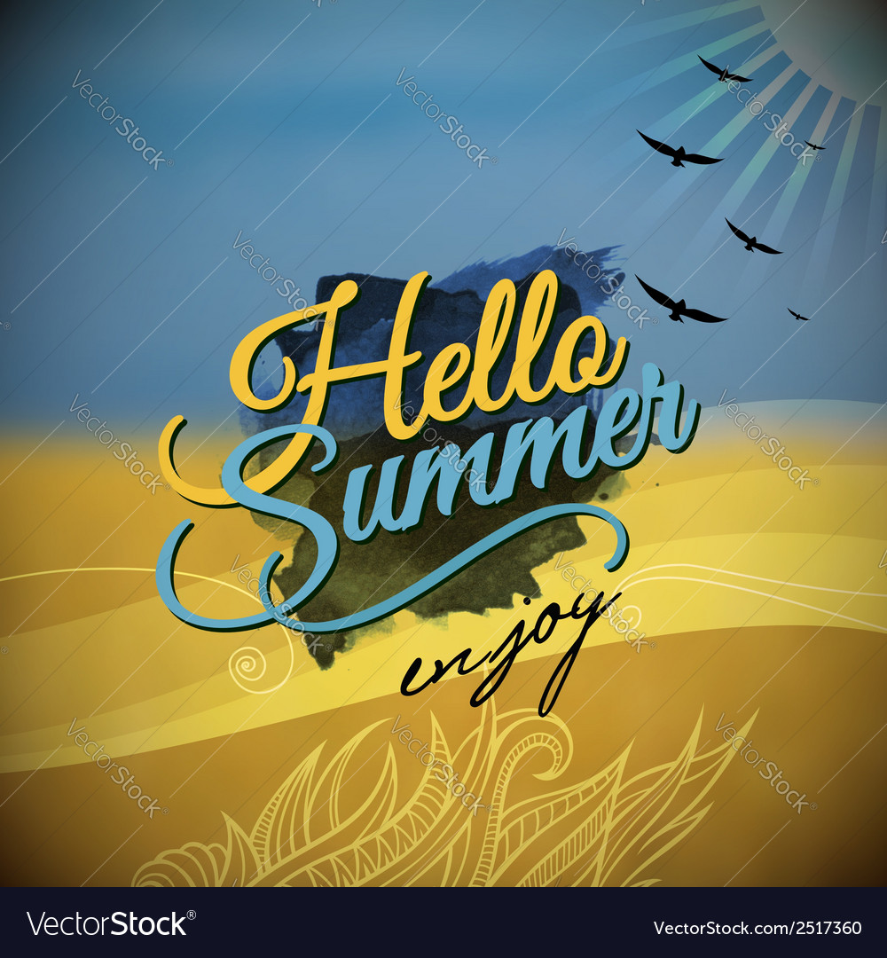 Hello summer blurred background vector | Price: 1 Credit (USD $1)