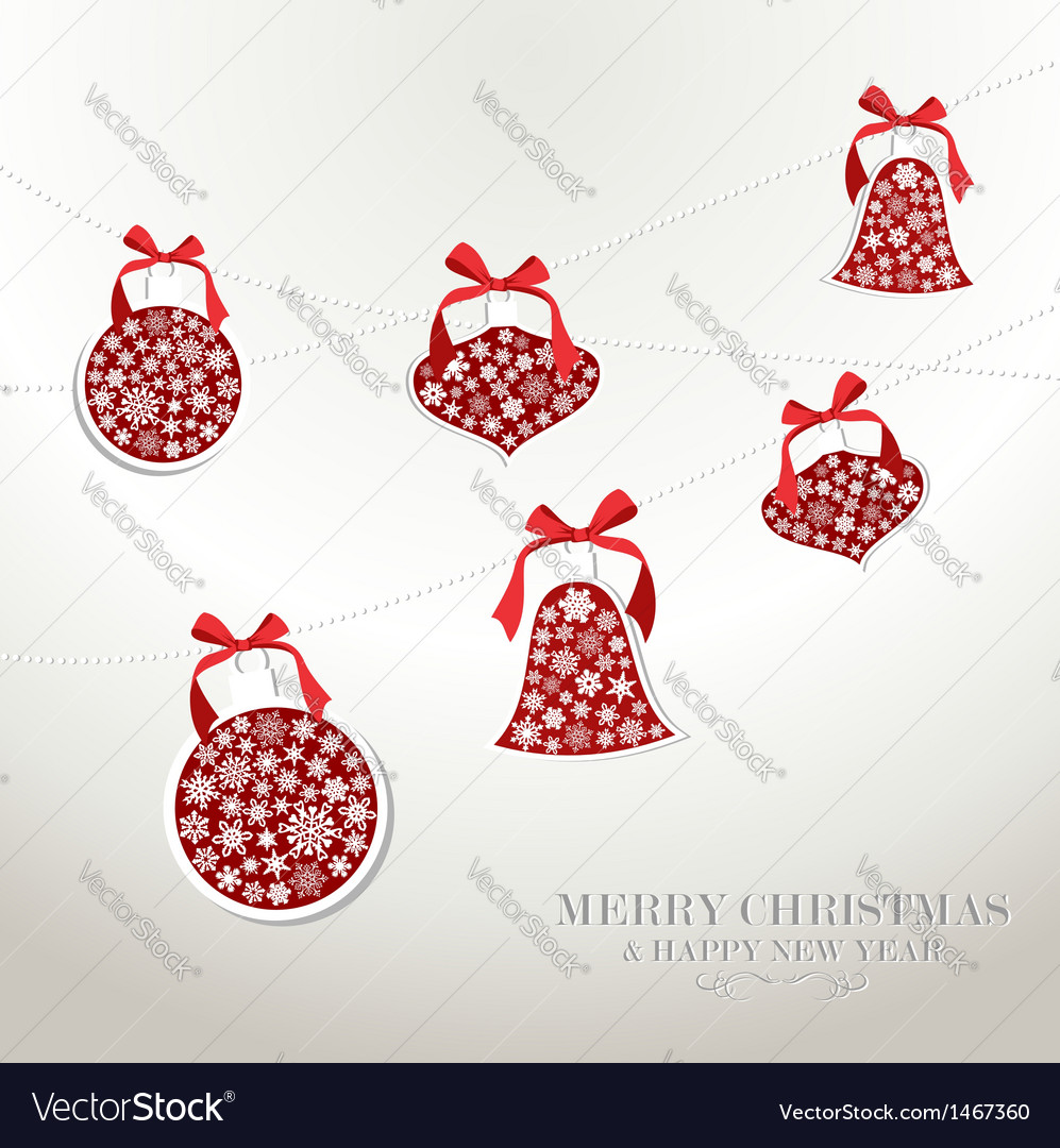 Merry christmas snowflakes baubles vector | Price: 1 Credit (USD $1)