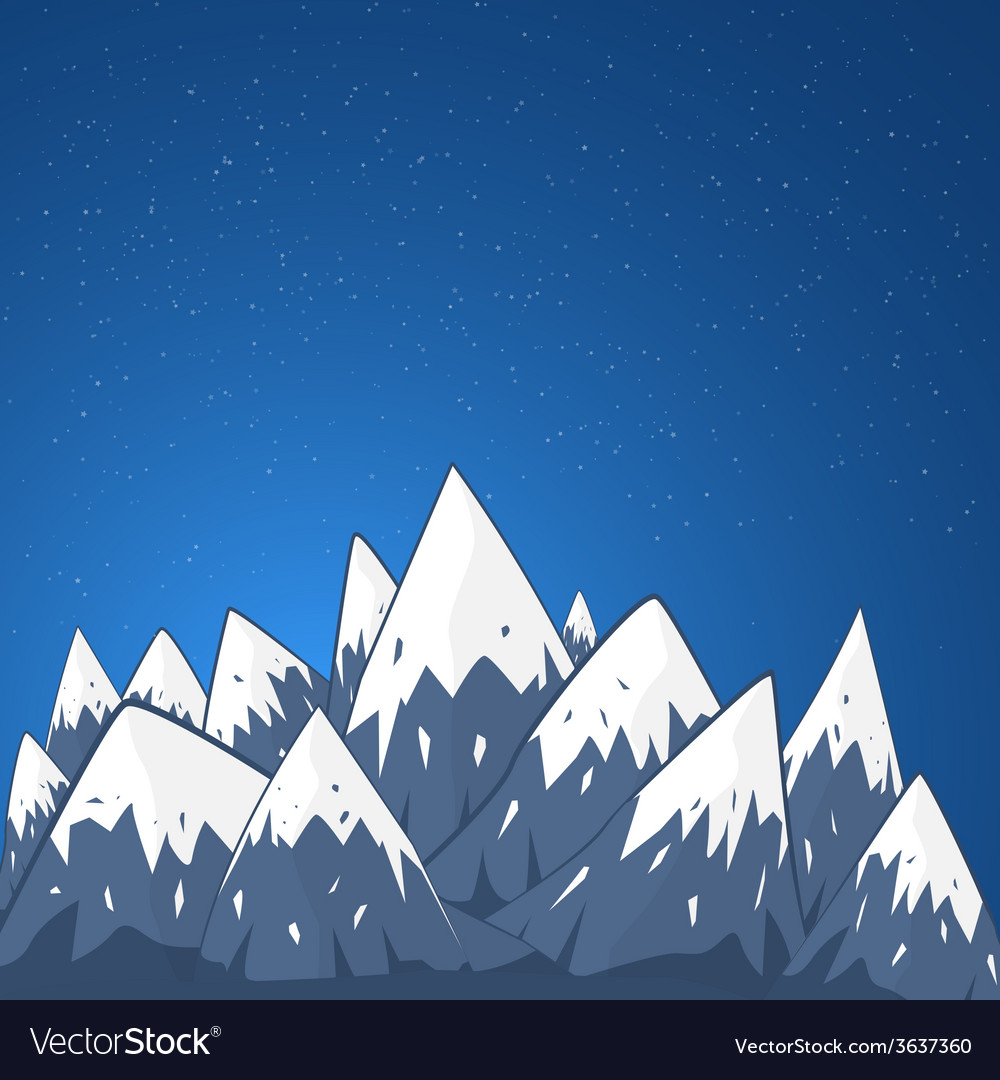 Mountain landscape with snow top and stars at the vector | Price: 1 Credit (USD $1)