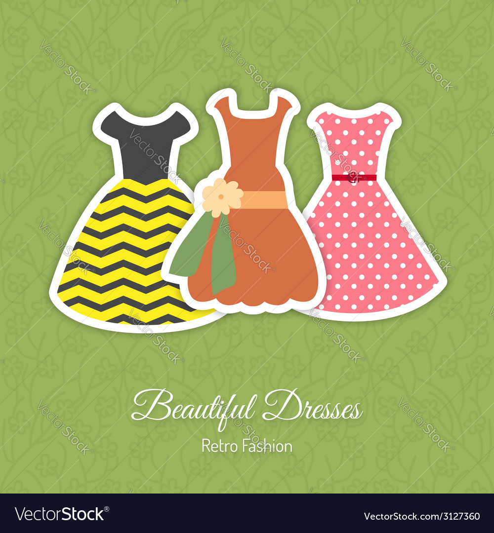 Retro dresses background vector | Price: 1 Credit (USD $1)
