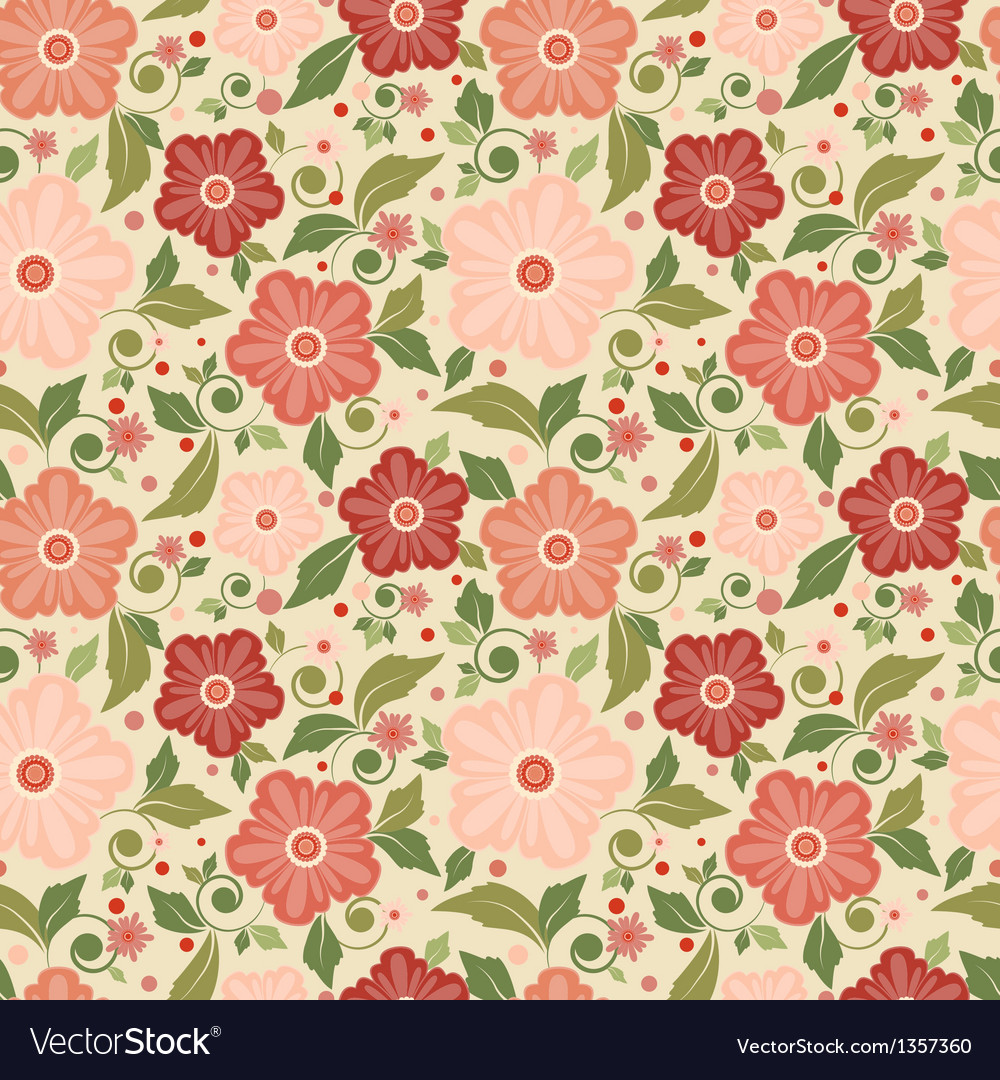 Seamless floral pattern with geometric flowers vector | Price: 1 Credit (USD $1)