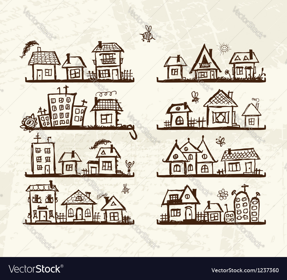 Sketch of cute houses on shelves for your design vector | Price: 1 Credit (USD $1)