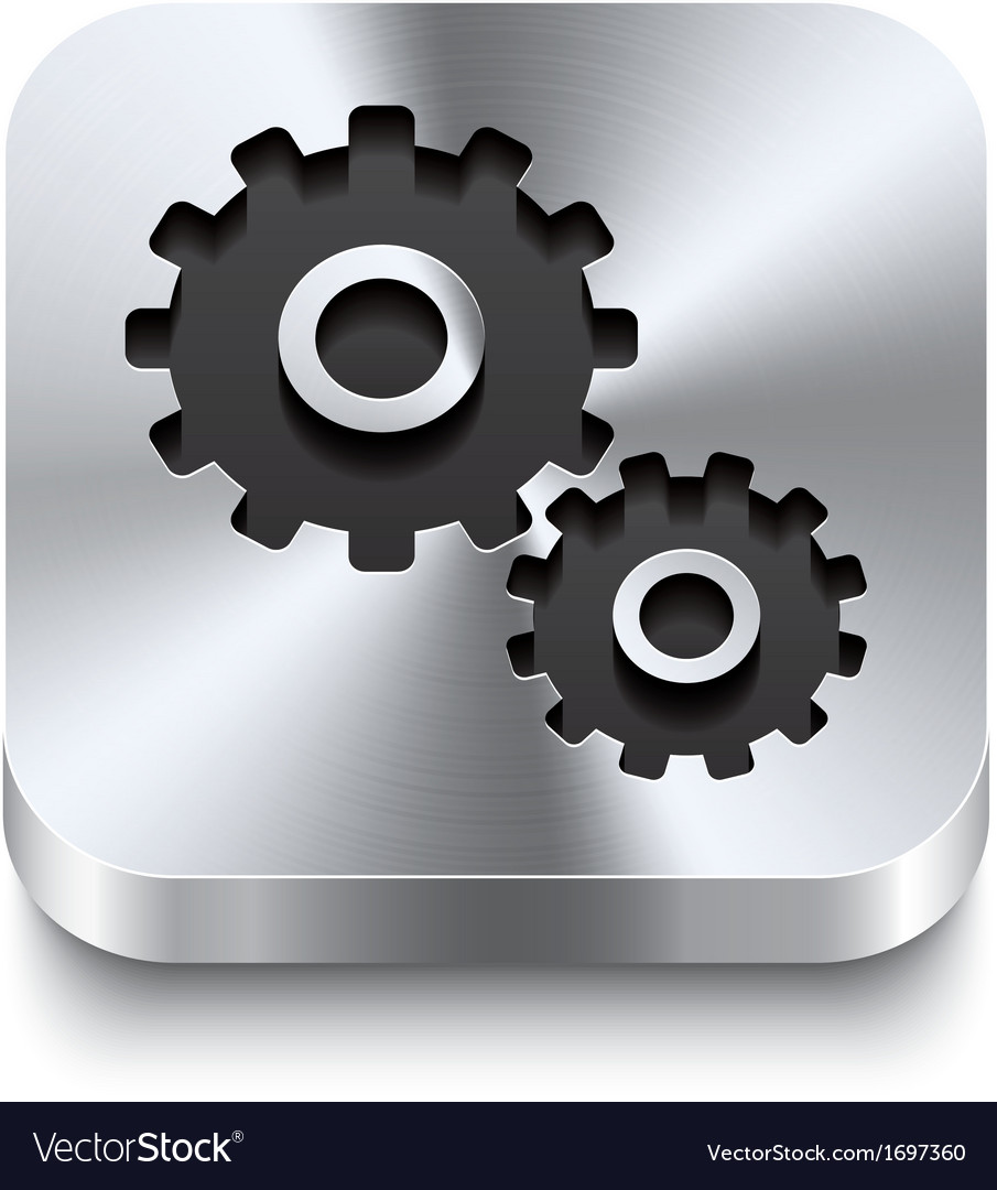 Square metal button perspektive - gear icon vector | Price: 1 Credit (USD $1)