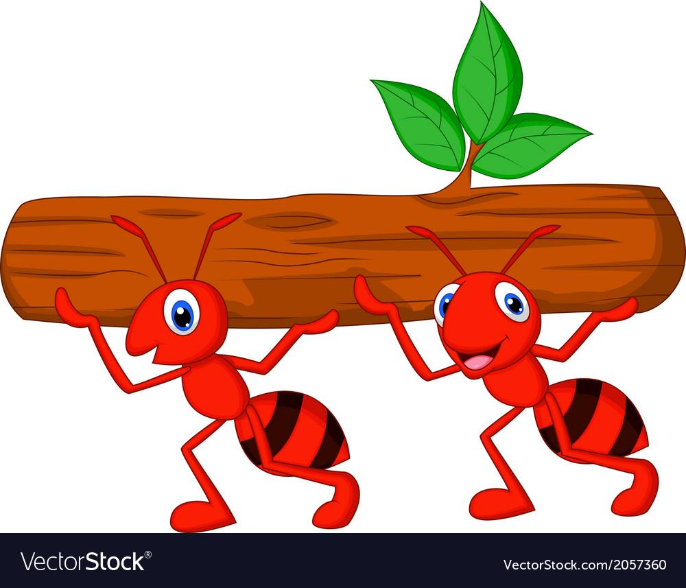 Team of ants cartoon carries log vector | Price: 1 Credit (USD $1)