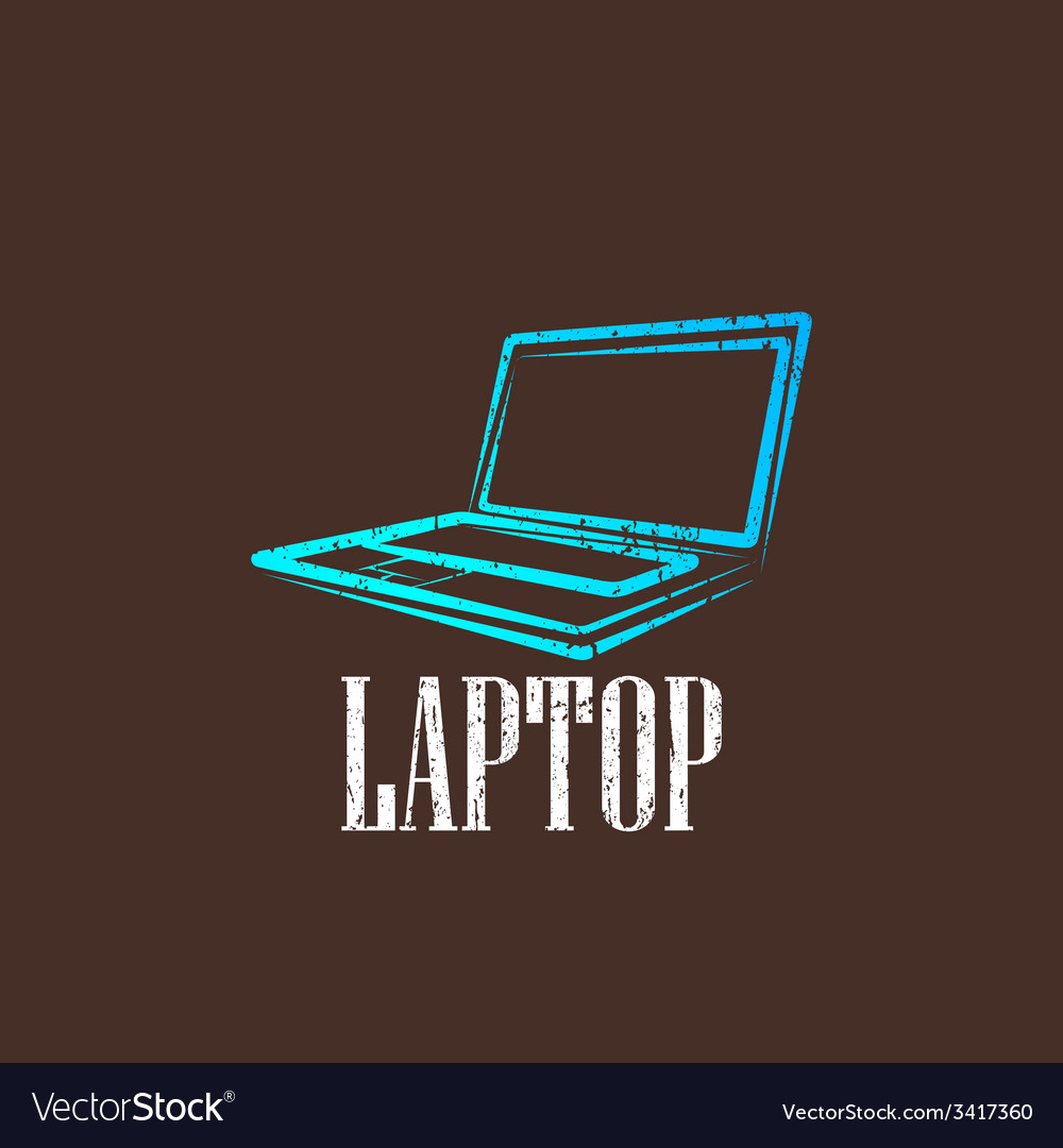 Vintage with a laptop vector | Price: 1 Credit (USD $1)