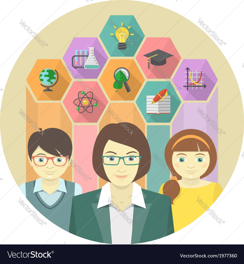 Woman teacher and pupils with colored hexagons vector | Price: 1 Credit (USD $1)