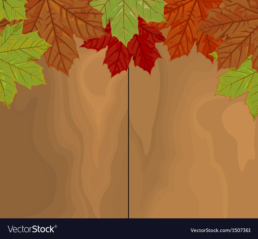 Autumn leave over wood vector | Price: 1 Credit (USD $1)