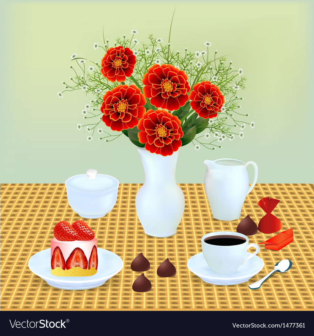 Bouquet of chocolates and coffee vector | Price: 1 Credit (USD $1)
