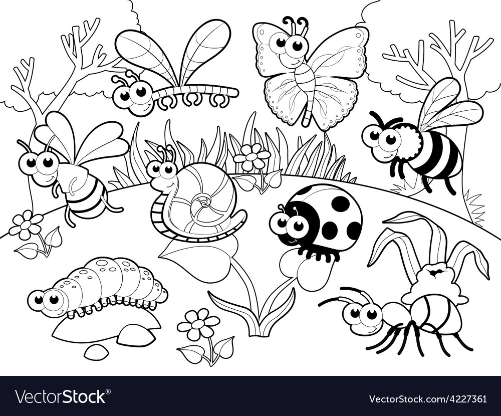 Bugs 1 snail with background in blach and white vector | Price: 3 Credit (USD $3)