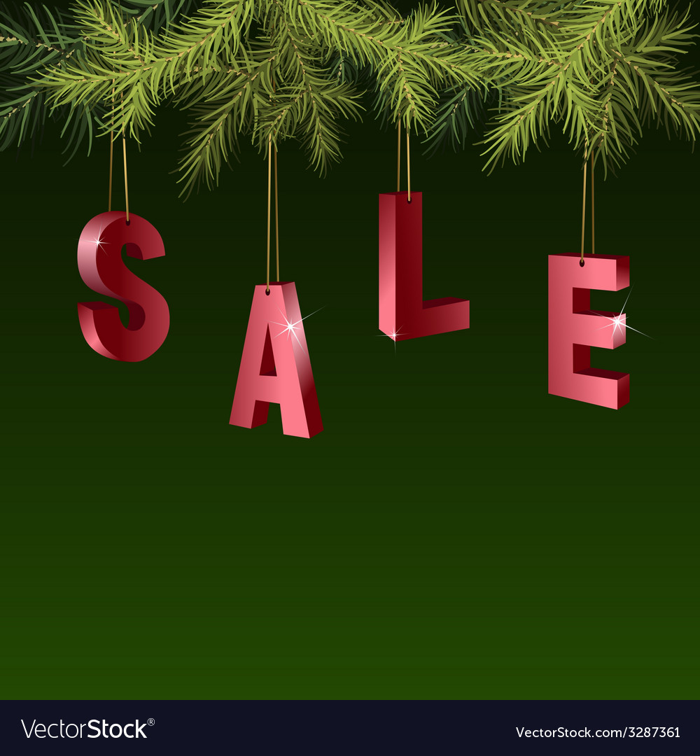 Christmas sale red tags over green background vector | Price: 1 Credit (USD $1)