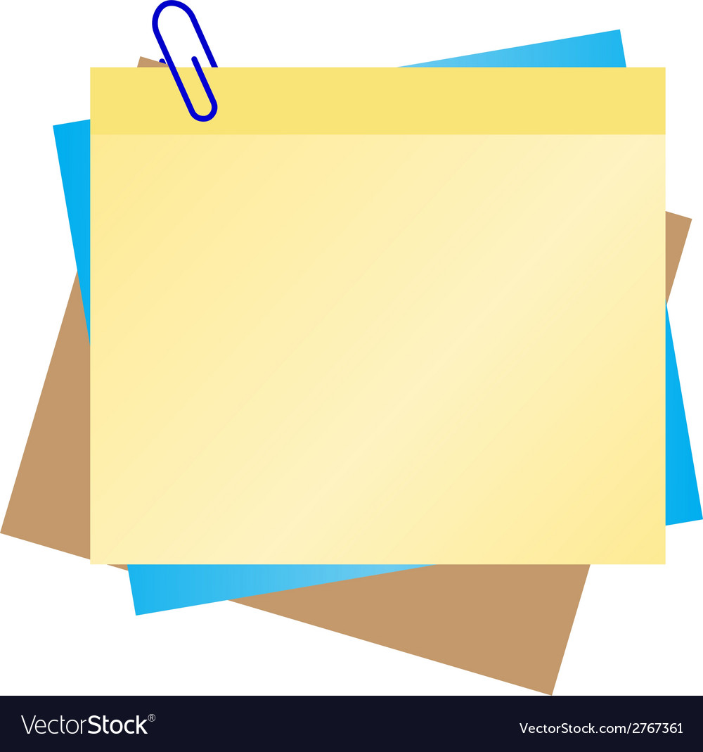 Colorful post it with blue clip vector | Price: 1 Credit (USD $1)