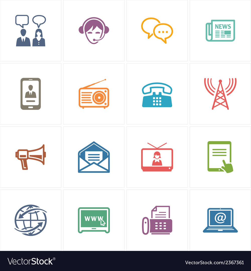 Communication icons set 2 - colored series vector | Price: 1 Credit (USD $1)