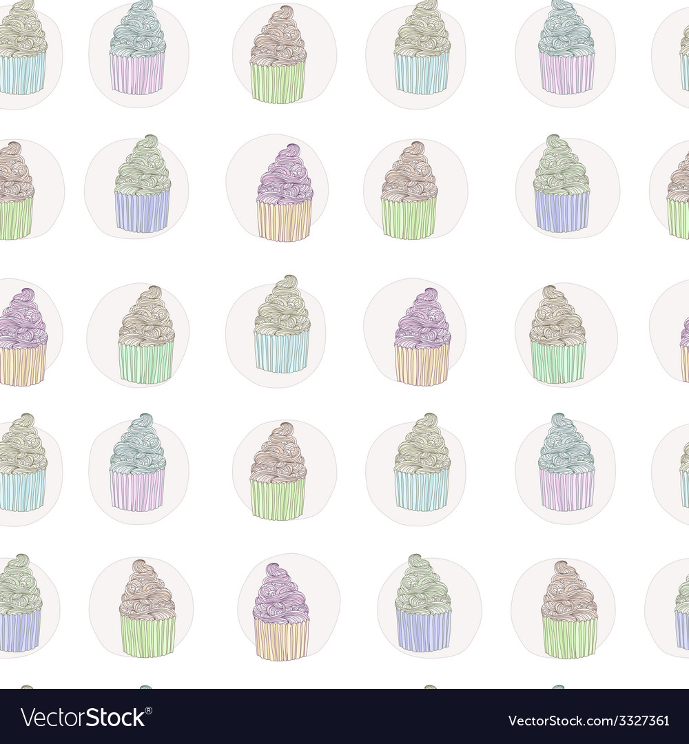 Cup cake seamless pattern vector | Price: 1 Credit (USD $1)
