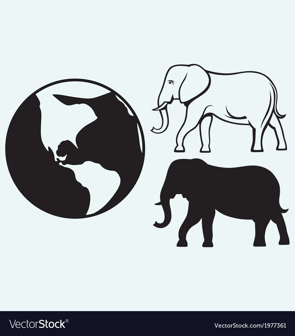 Elephant and planet vector | Price: 1 Credit (USD $1)