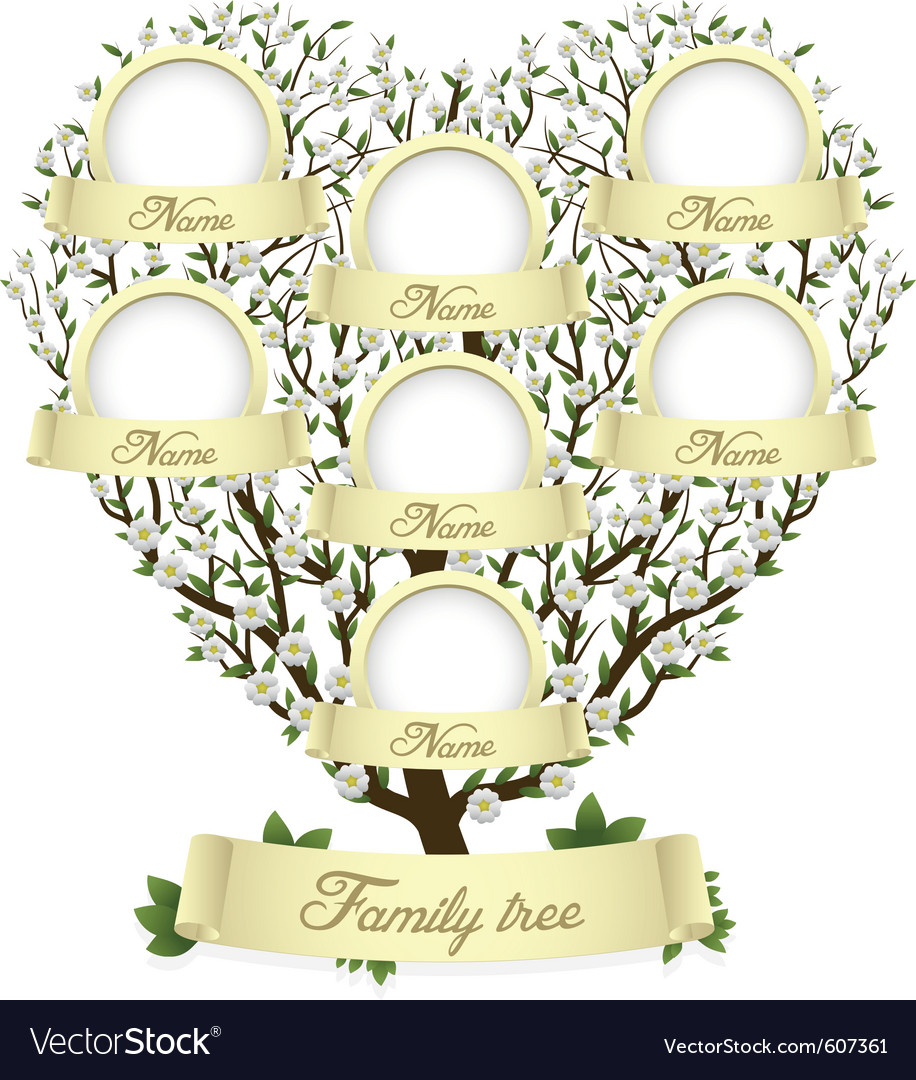 Family tree in heart shape vector | Price: 1 Credit (USD $1)