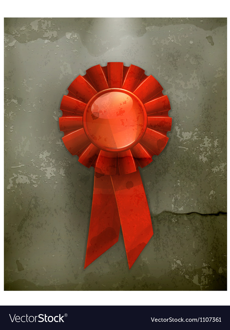 First place red ribbon old-style vector | Price: 3 Credit (USD $3)