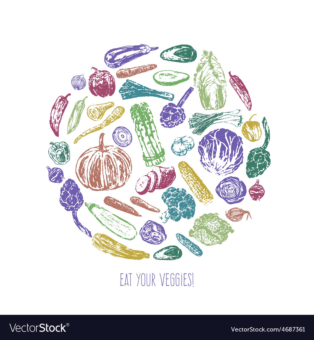 Ink hand drawn vegetables card vector | Price: 1 Credit (USD $1)