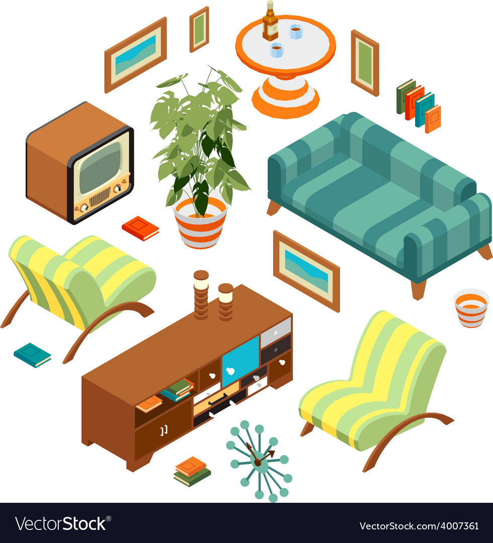 Retro living room vector | Price: 1 Credit (USD $1)