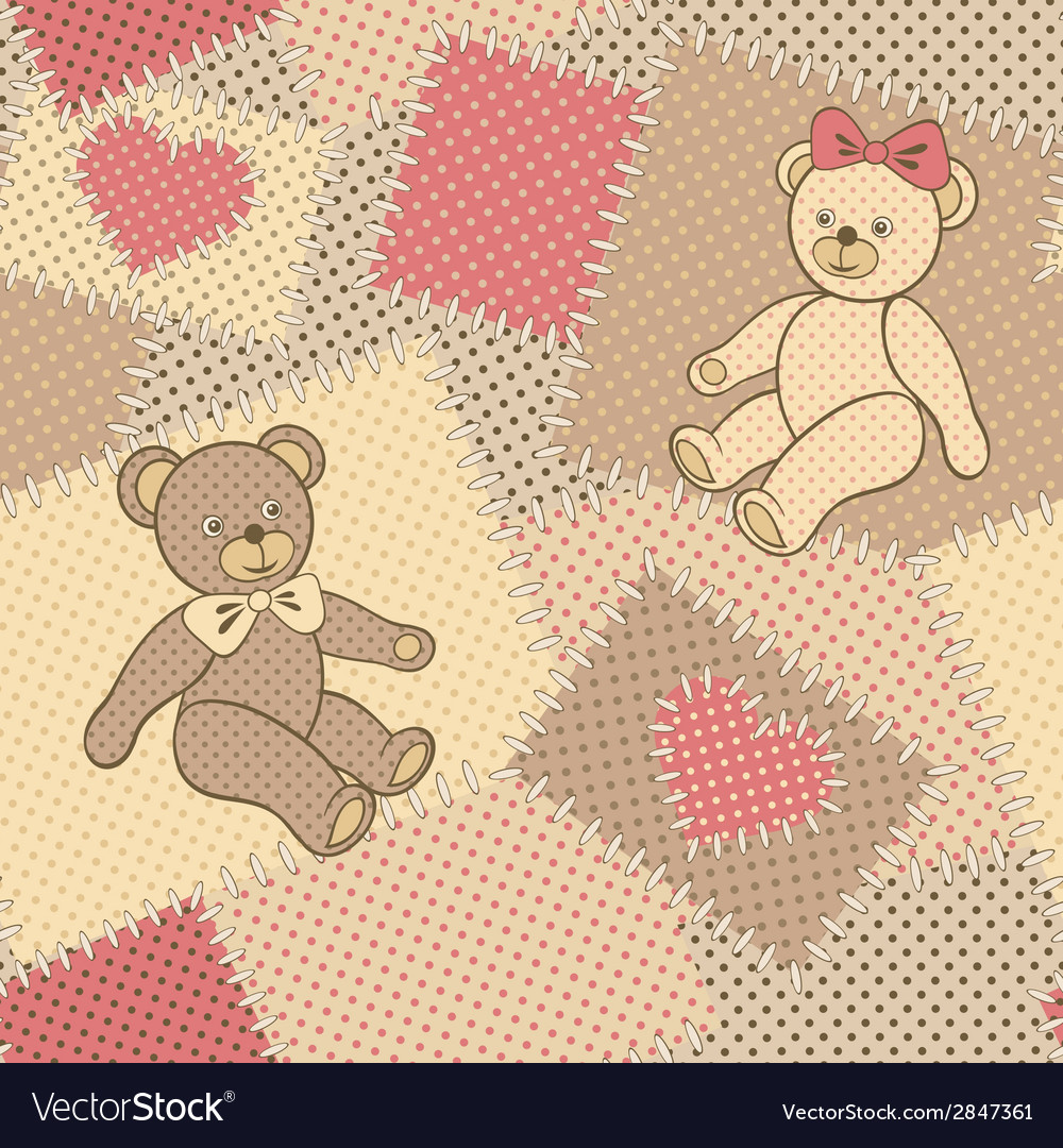 Seamless pattern with teddy bear vector | Price: 1 Credit (USD $1)