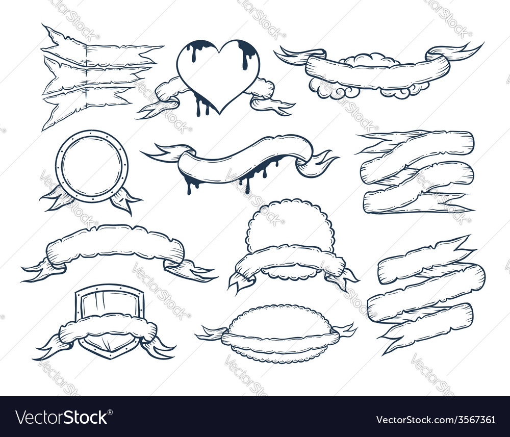 Set of ribbons templates for your text vector | Price: 1 Credit (USD $1)