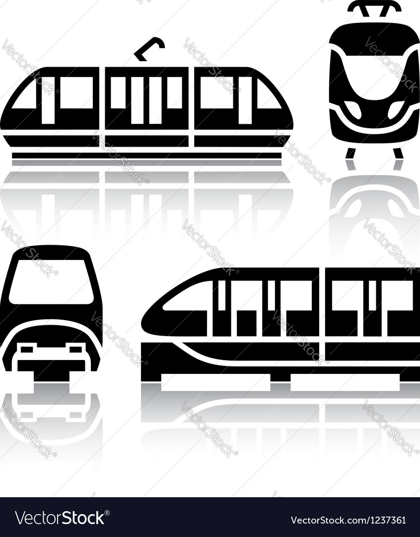 Set of transport icons - monorail and tram vector | Price: 1 Credit (USD $1)