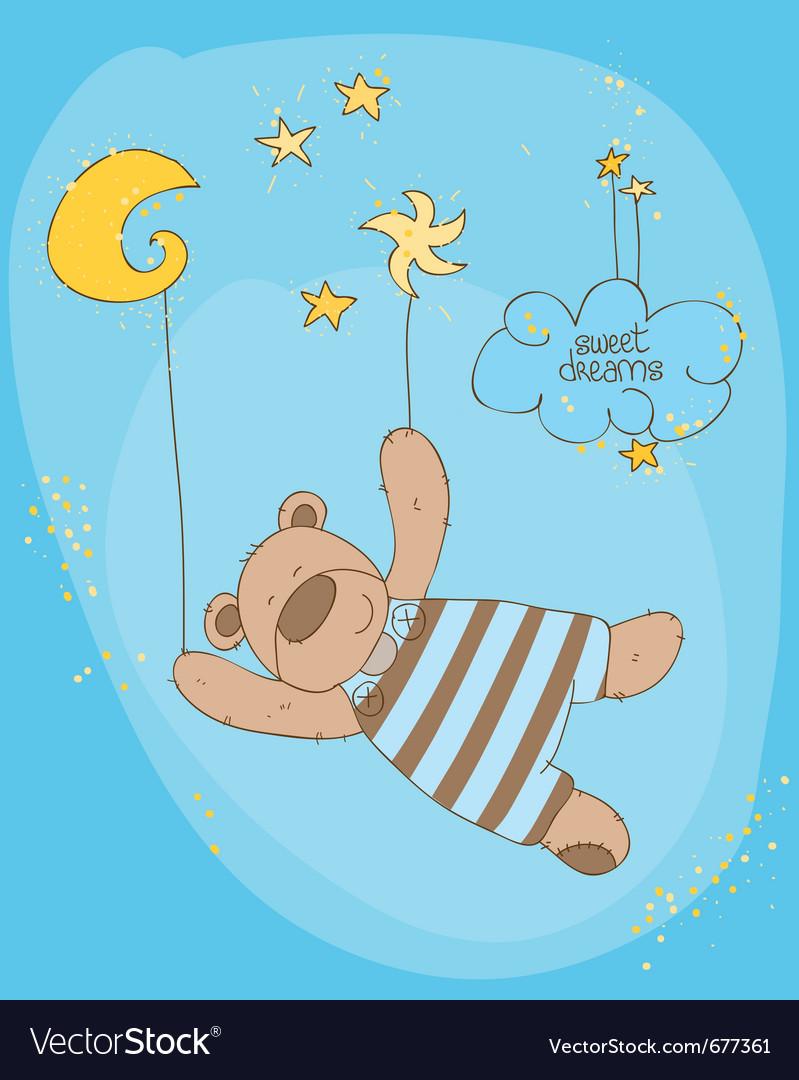 Sleeping baby bear cute card vector   Price: 1 Credit (USD $1)