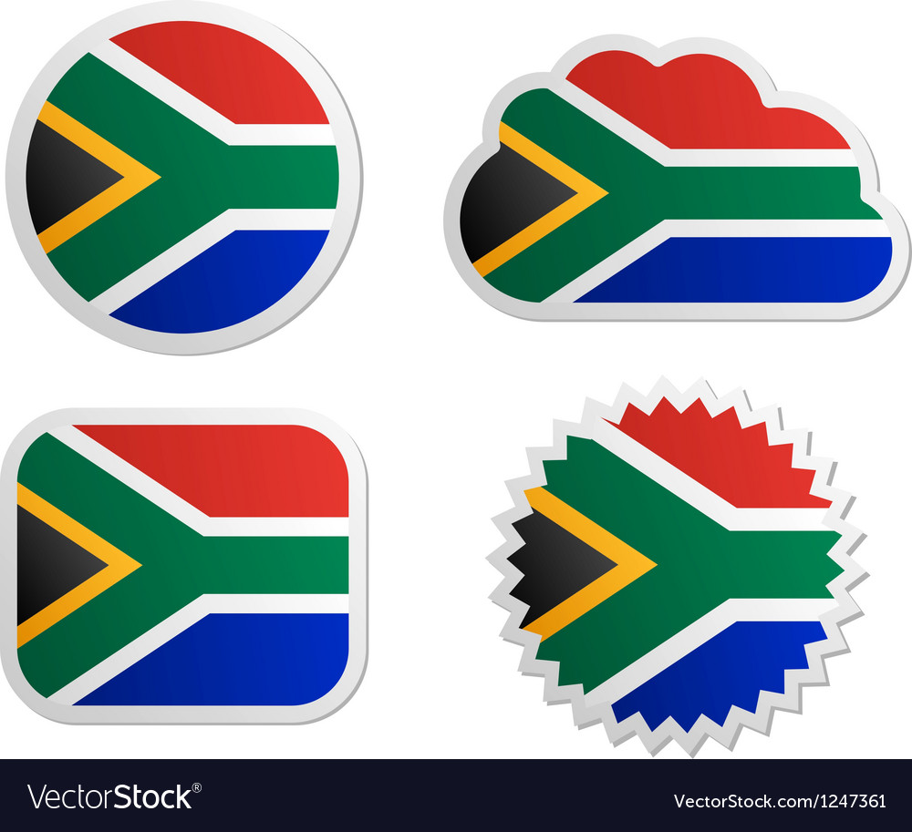 South africa flag labels vector | Price: 1 Credit (USD $1)