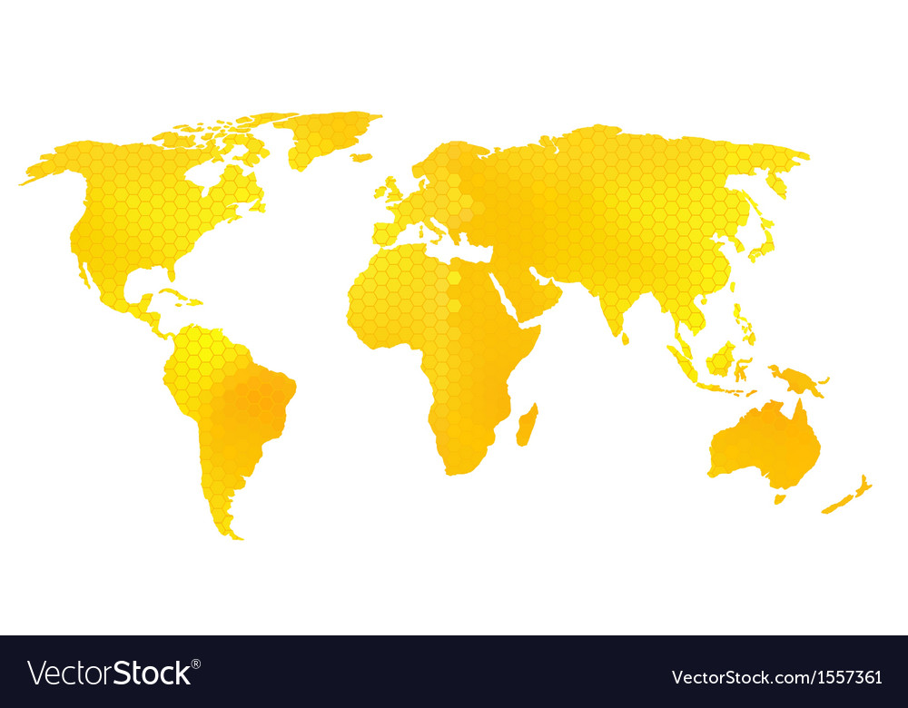 World map  honeycomb pattern vector | Price: 1 Credit (USD $1)