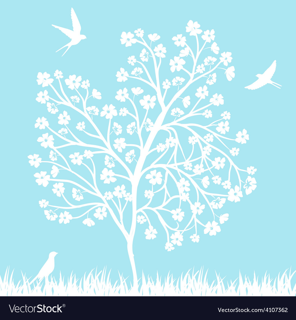 Blooming tree and birds vector | Price: 1 Credit (USD $1)