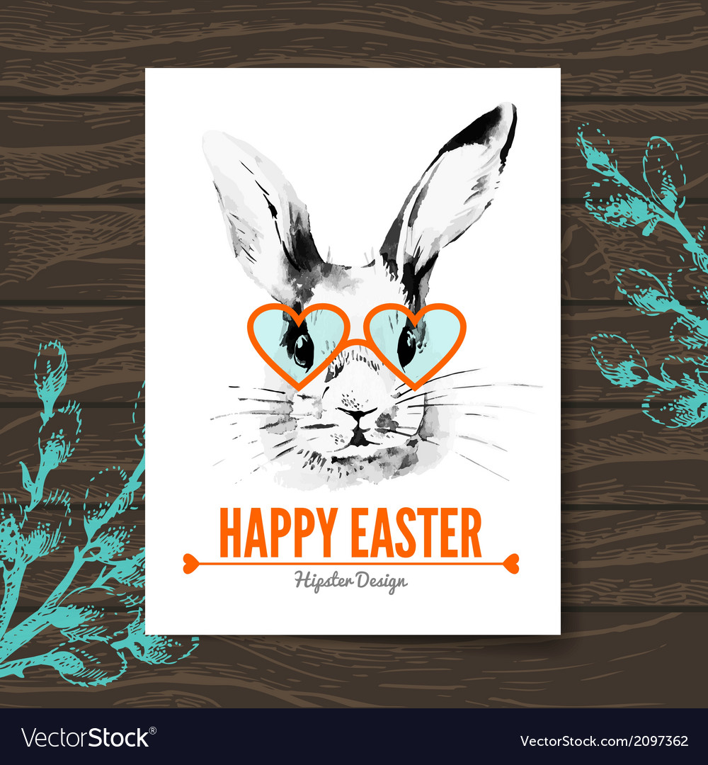 Easter card hipster sketch watercolor vector | Price: 1 Credit (USD $1)
