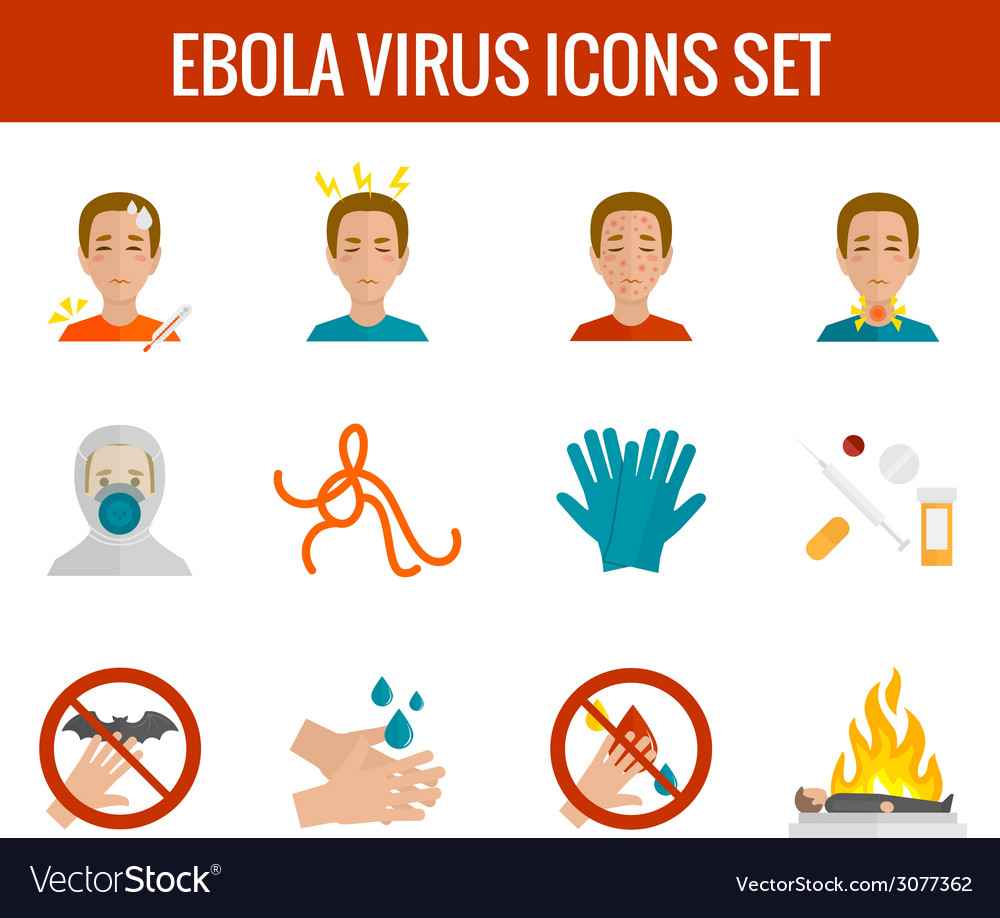Ebola virus icons flat vector | Price: 1 Credit (USD $1)