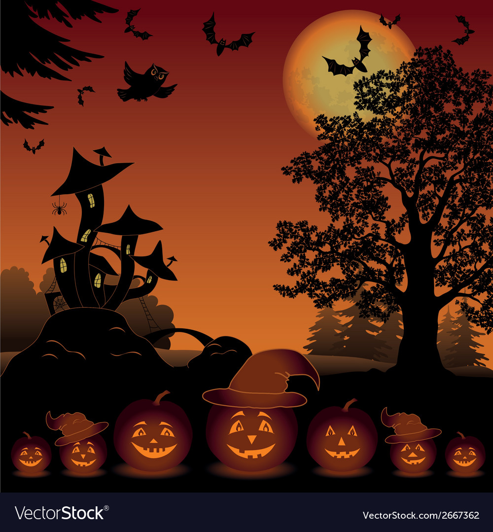 Halloween landscape with pumpkins jack-o-lantern vector | Price: 1 Credit (USD $1)