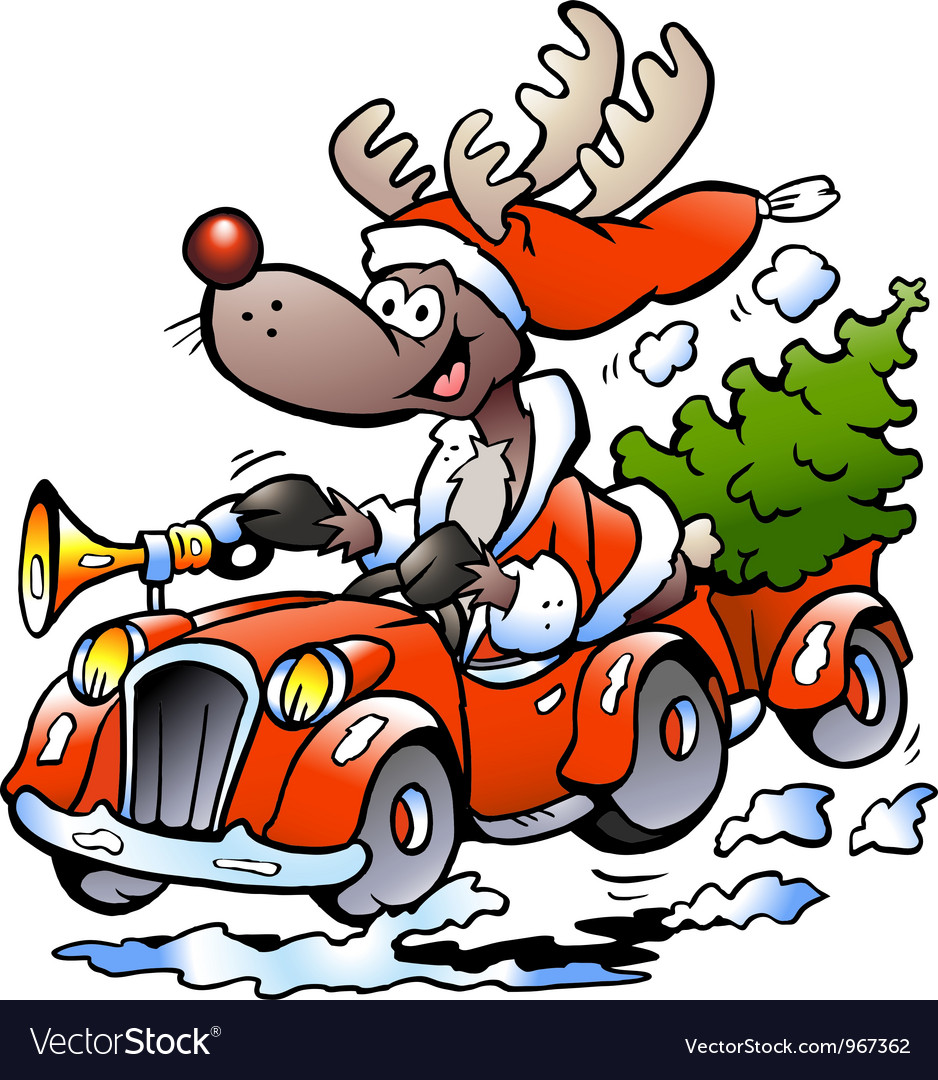 Hand-drawn of an reindeer driving car vector   Price: 1 Credit (USD $1)