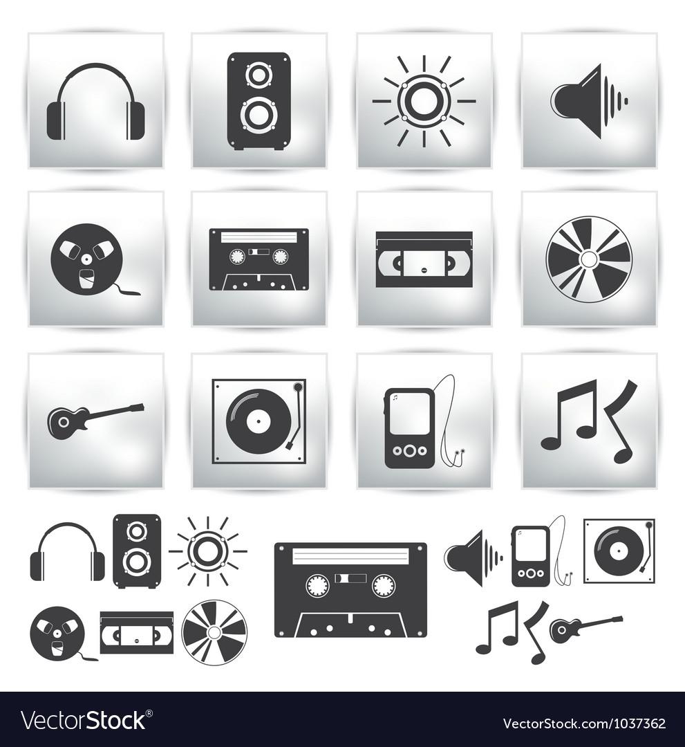 Icons set  music sound vector | Price: 1 Credit (USD $1)