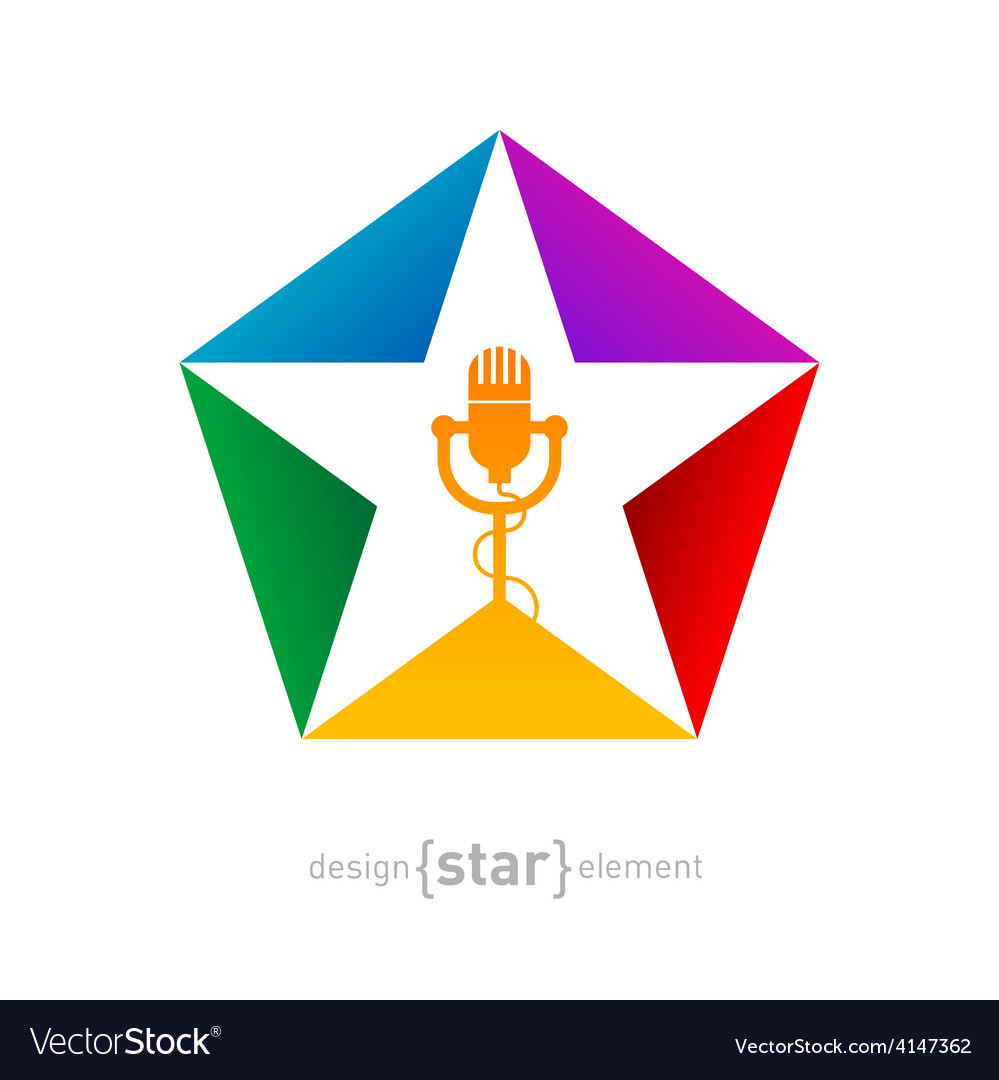 Music logo template - star with microphone design vector | Price: 1 Credit (USD $1)