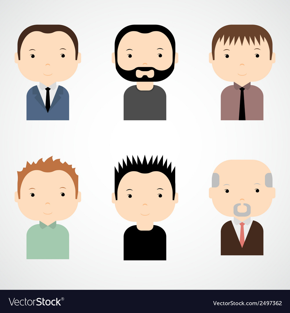 Set of colorful male faces icons vector | Price: 1 Credit (USD $1)
