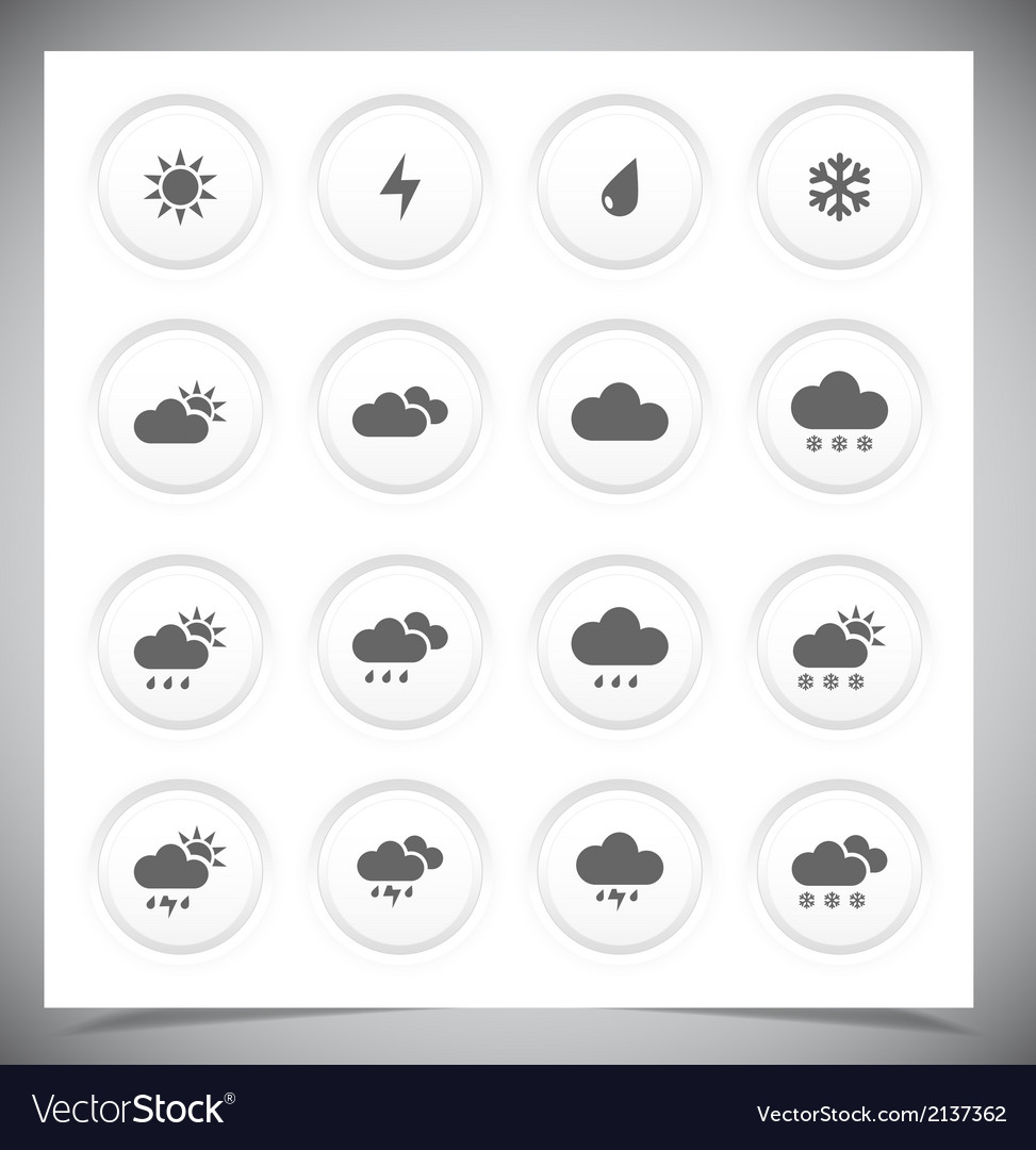 Set of grey weather buttons vector | Price: 1 Credit (USD $1)