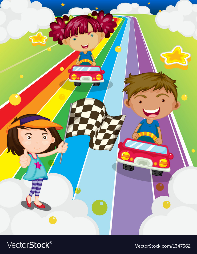 Three kids playing car racing vector | Price: 1 Credit (USD $1)