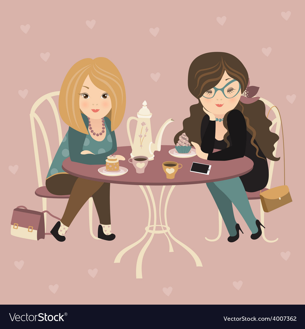 Two fashion girls chatting at a cafe vector | Price: 1 Credit (USD $1)