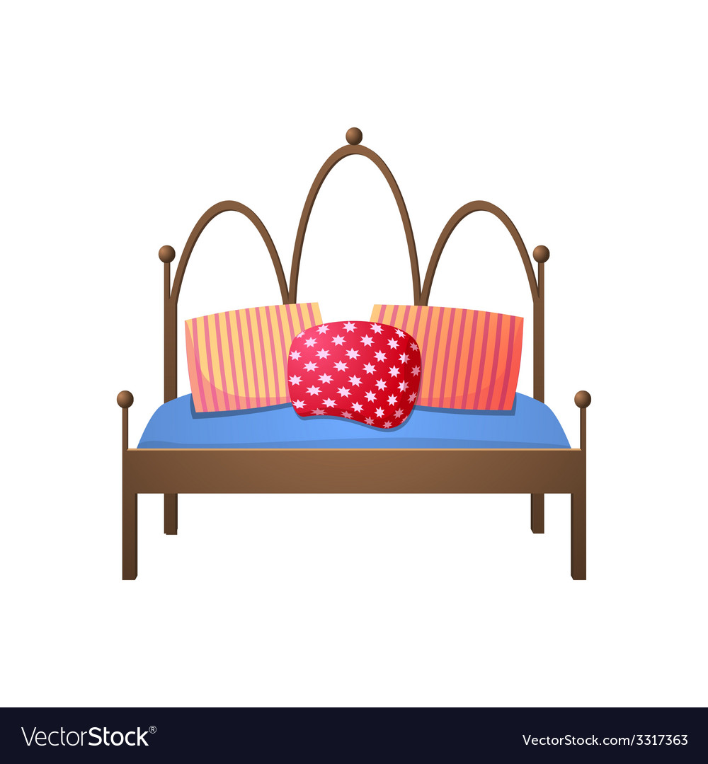 Beautiful double bed in a realistic style vector | Price: 1 Credit (USD $1)