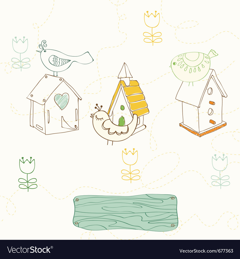 Birds and bird houses doodles vector | Price: 1 Credit (USD $1)