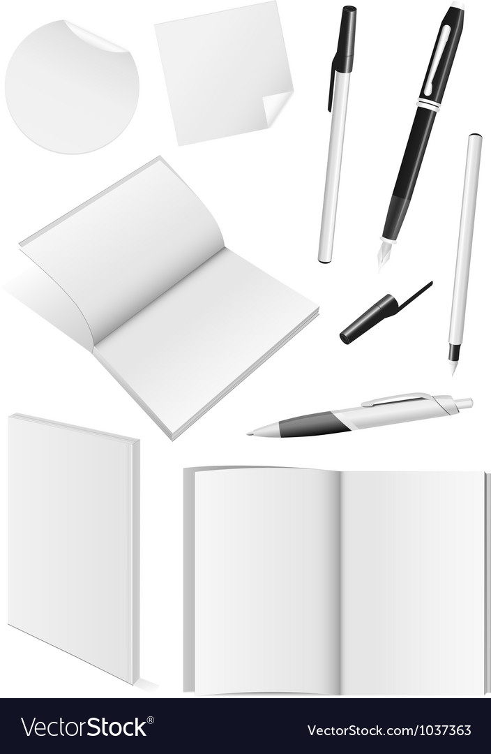 Blank writing tools and book mock-ups vector | Price: 1 Credit (USD $1)