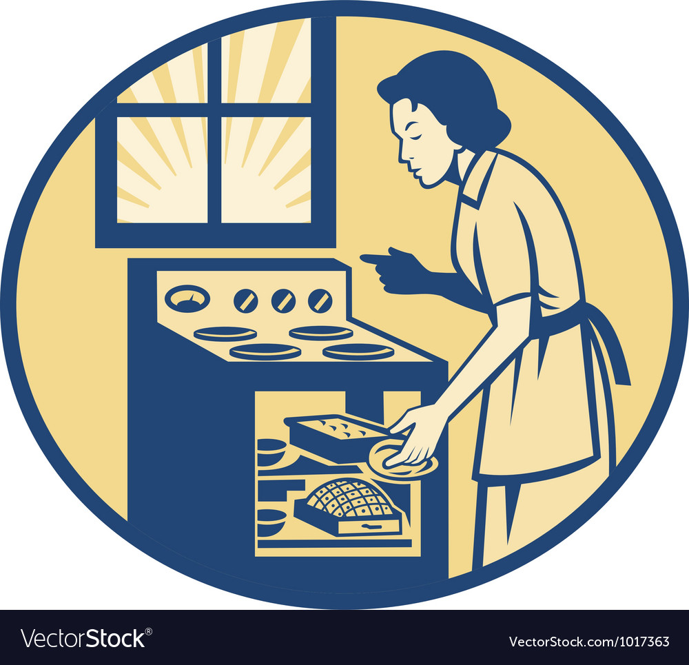 Housewife baker baking in oven stove retro vector | Price: 1 Credit (USD $1)