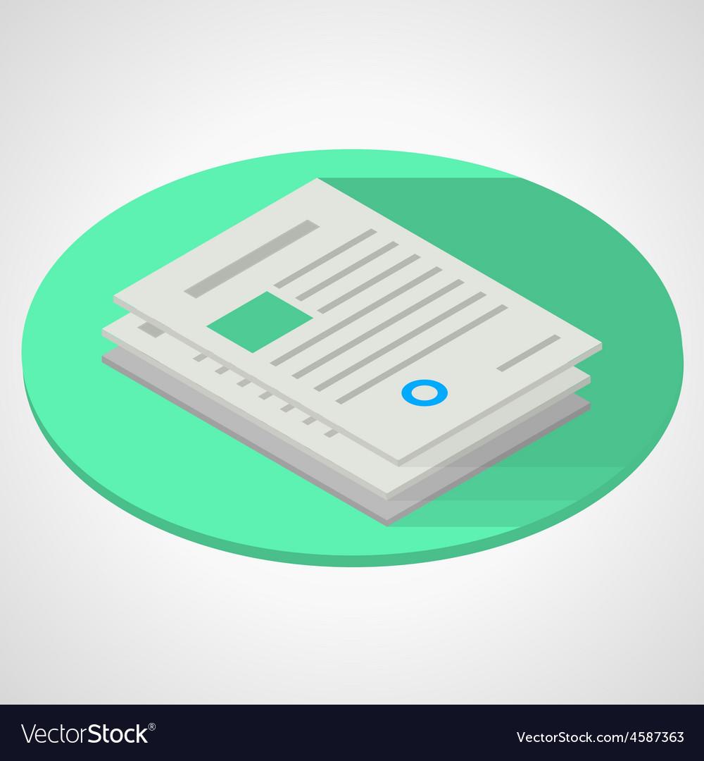 Isometric flat of documents vector | Price: 1 Credit (USD $1)
