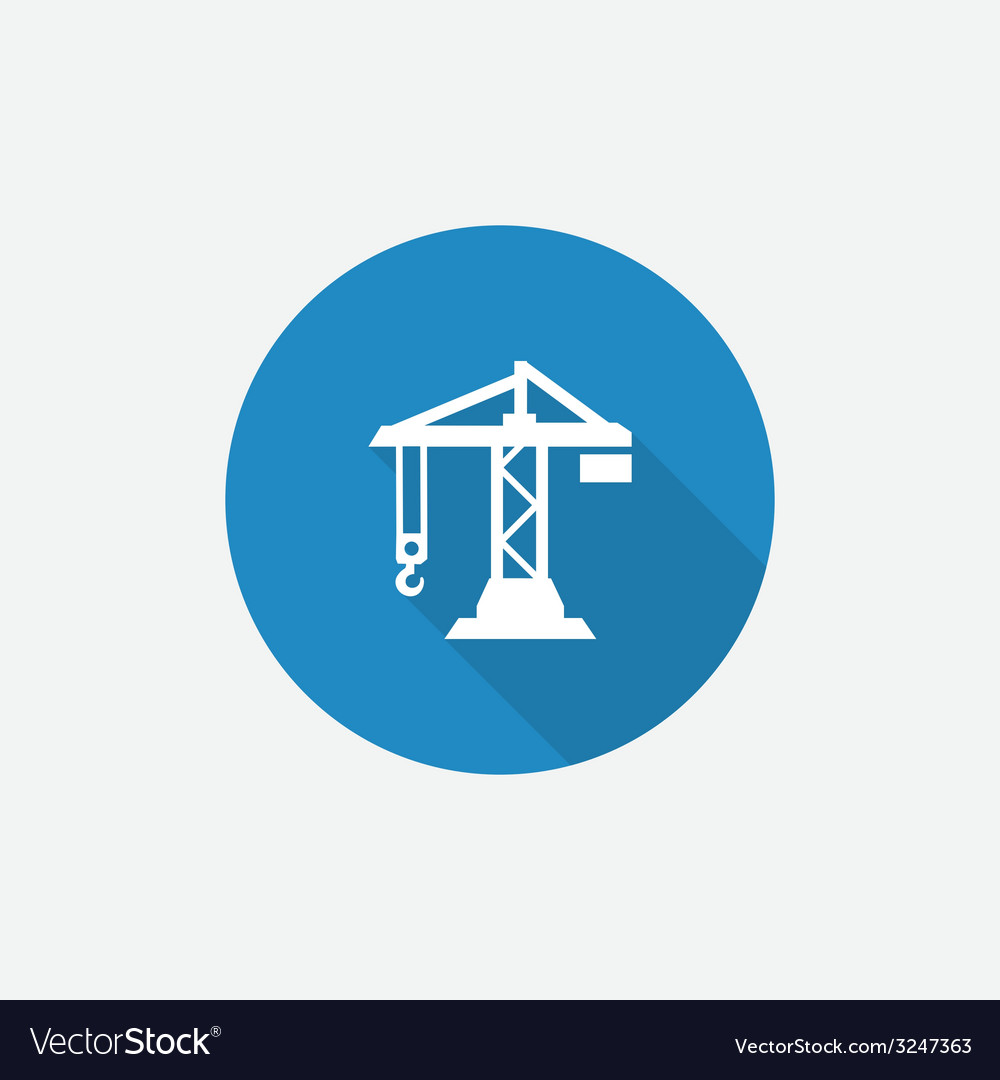 Printbuilding crane flat blue simple icon with vector | Price: 1 Credit (USD $1)