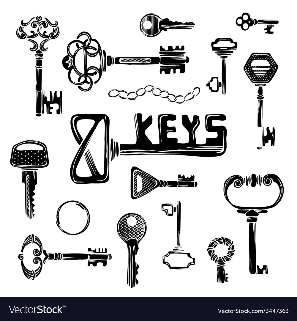 Set of black key silhouettes vector | Price: 1 Credit (USD $1)