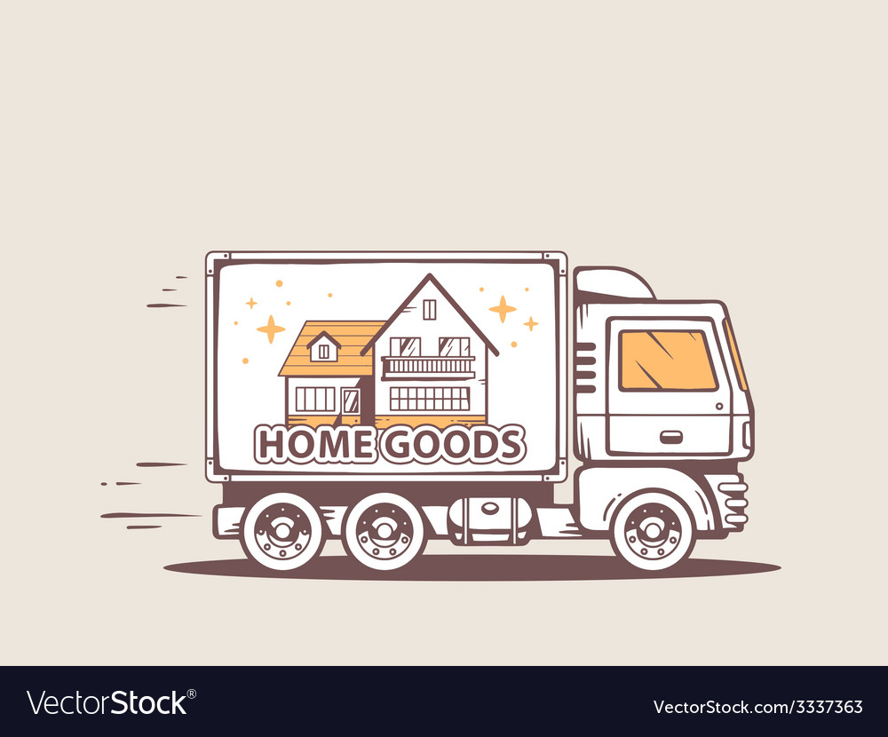 Truck free and fast home delivery of good vector | Price: 3 Credit (USD $3)