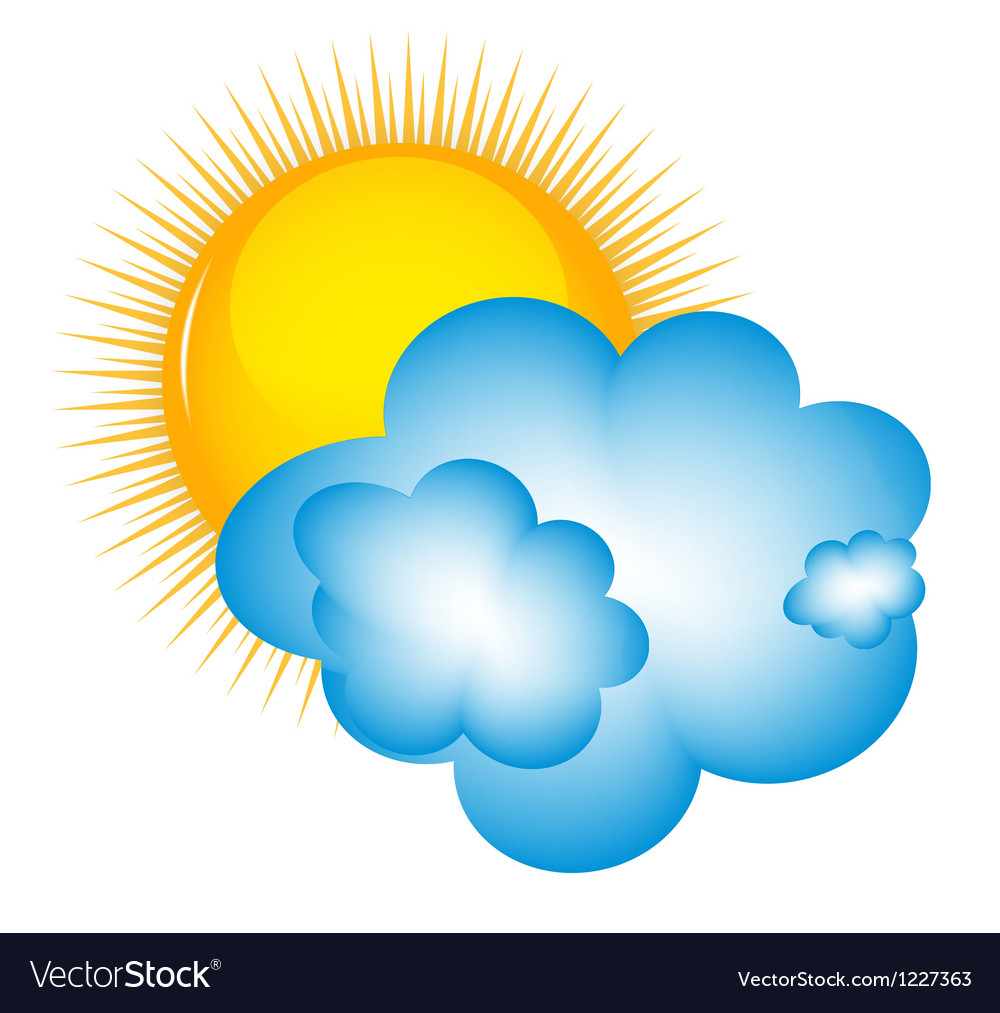 Weather icons with sun cloud and thermometer vector | Price: 1 Credit (USD $1)