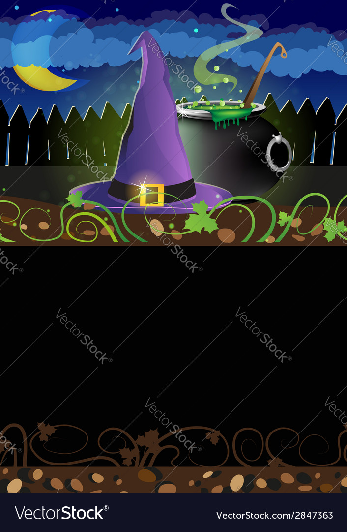 Witch hat and cauldron vector | Price: 1 Credit (USD $1)