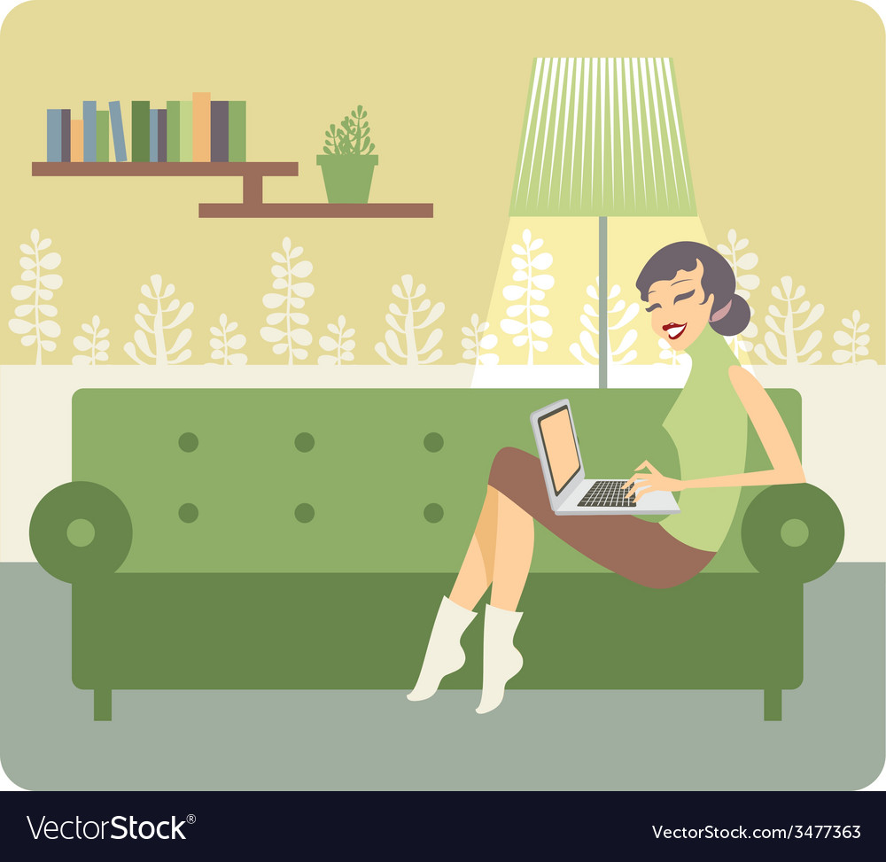 Woman working at home vector | Price: 1 Credit (USD $1)